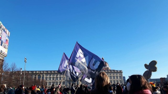 FAU flags in the 8th of march demo 2021